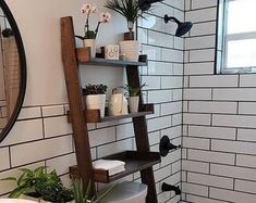This listing is for an over-the-toilet ladder shelf. Its a great space saver. We do have some Dark Walnut stained ladder shelves that ship within 1 business day that you can view here: Toilet Shelves, Cubby Shelves, Rope Shelves, Hanging Shelves, Shelving, Over Toilet Storage, Hanging Rope, Ladder Shelf Diy, Ladder Storage