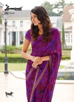 This drape is designed to celebrate womanhood in all its facet floral prints + diamond on violet color will fetch the everyone's attention.