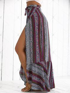 High Slit Bohemian Printed Mermaid Skirt COLORMIX: Skirts | ZAFUL Maxi Skirt Boho, Bohemian Skirt, Gypsy Skirt, Boho Skirts, Printed Maxi Skirts, Mermaid Skirt, Summer Fashion Outfits, Boho Fashion, Fall Fashion