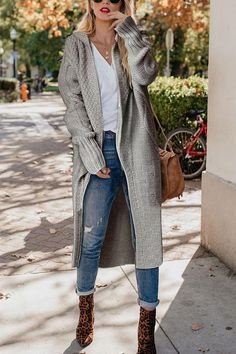 Daily Fashion Casual Solid Color Loose Long Sleeve Knitting Coat Long Cardigan 20 Attractive Women Coats to Wear this Fall Mode Outfits, Fall Outfits, Casual Outfits, Fashion Outfits, Womens Fashion, Fashion Trends, Fashion Ideas, Casual Work Outfit Winter, Hijab Casual