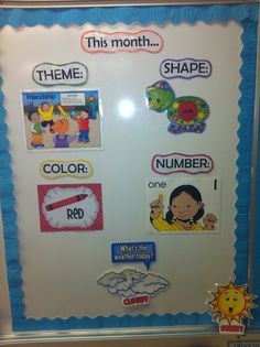IB Circle Time This Months Themes Board idea for classroom . Such a GREAT idea !from This Months Themes Board idea for classroom . Such a GREAT idea ! Preschool Rooms, Preschool Lessons, Preschool Learning, Kindergarten Classroom, Classroom Activities, Infant Classroom Ideas, Toddler Daycare Rooms, Circle Time Ideas For Preschool, Toddler Classroom Decorations