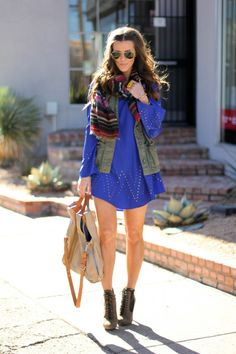 layered minidress + army vest + striped scarf + lace up booties on @Courtney Kerr