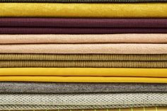 Yellow is the happiest colour. A selection of the beautiful textiles we are launching this winter. This year we are all about bold colours and texture impossible not to touch Happy Colors, Warm Colors, Bold Colors, Colours, Fabric Textures, Textures Patterns, Yellow Interior, Acoustic Panels, Soft Furnishings