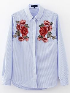Shop Flower Embroidery Vertical Striped Blouse online. SheIn offers Flower Embroidery Vertical Striped Blouse & more to fit your fashionable needs.