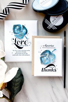 PTI | Watercolor Galaxy Thank You Cards Personalized With Constellations