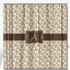 Personalized Shower Curtain Giraffe Print - Lime Rikee Designs
