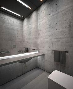 Concrete Bathroom, accessible bathroom, universal design