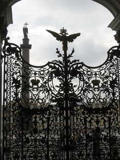 Gate to the Winter Palace - St. Petersburg, Russia, with double headed eagle of the House of Romanov