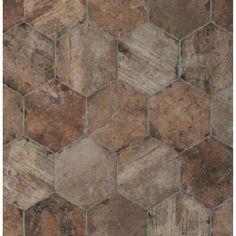 Tesoro Chicago Brick Hexagon x Porcelain Mosaic Tile in State Street Brick Tile Floor, Brick Look Tile, Best Floor Tiles, Brick Flooring, Flooring Ideas, Chicago, Tile Stores, State Street, Hexagon Tiles