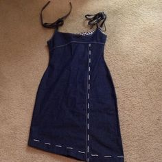 St. Marks NYC One of a Kind Denim Dress Denim Dark Blue A Symetrical White Stitched Dress. Never Worn-tags on Trash & Vaudeville Dresses Asymmetrical