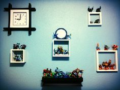 A shadow box for each element would be cool painted etc with color scheme Love this idea :D Attic Bedroom Decor, Bedroom Ideas, Shadow Box, Color Schemes, Gallery Wall, Crafting, Diy Crafts, Spaces, Costumes