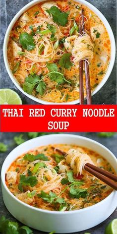 THAI RED CURRY NOODLE SOUP Yes, you can have Thai takeout right at home! This soup is packed with so much flavor with bites of tender chicken, rice noodles Vegetarian Recipes, Cooking Recipes, Healthy Recipes, Thai Curry Recipes, Thai Food Recipes, Chinese Soup Recipes, Best Soup Recipes, Lowfat Soup Recipes, Red Thai Curry Vegetarian
