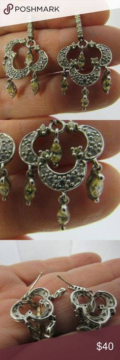 """Vintage Silver Citrine and Crystal Drop Earrings In great condition, these pretty earrings are made of citrine, silver and crystals.  Measures 1.5"""" long x 3/4"""" wide.  Nice!   2017-021 Vintage Jewelry Earrings"""