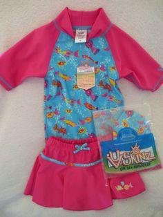 UV Skinz Toddler Girl Swimming Short Set UPF 50  Size 4T Pink Fish Print  NWT #UVSkinz #ShortSet