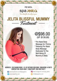 Hi there, wonderful mommies! We want to make sure you and your baby are relaxed and taken care of. Our Pre-Natal Body Massage is a healthy way to reduce stress and promote overall wellness.  Avail our Jelita Blissful Mummy Treatment for only $98.00!  For more information or for making an appointment via WhatsApp (65) 96274977 or call us at (65) 6345 4565.  Visit our website at http://www.spajelita.com for more details Follow us on Instagram: https://www.instagram.com/spa_jelita