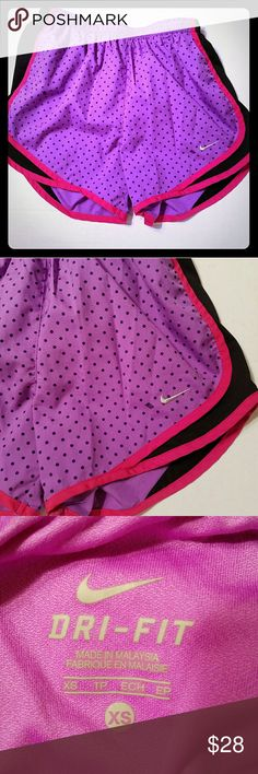 Size XS Nike Dri Fit Tempo Shorts Nike Dri Fit Tempo Shorts Lined  Purple with polka dots, Black and hot pink Size XS Nike Shorts