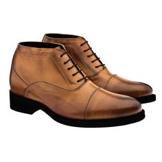 Elevator Ankle Boots - Upper in burnished cognac full grain leather, leather heel with special anti-slip rubber, handcrafted leather outsole with special anti-slip rubber. Hand Made in Italy.