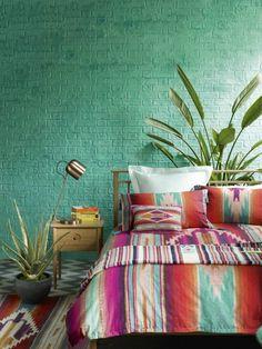Bedroom Boho Green Bohemian Decor Ideas For 2019 Bedroom Green, Bedroom Colors, Dream Bedroom, Summer Bedroom, Aztec Bedroom, Modern Bedroom, Bright Bedroom Ideas, Colourful Bedroom, Rainbow Bedroom