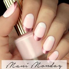 Rose gold nails are all the rage, so grab your light pinks and a pink chrome accent for an eye-catching manicure.