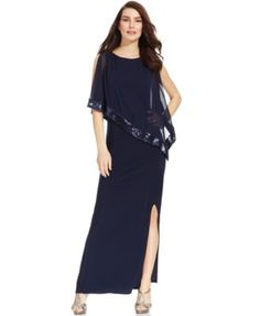 www1.Macys.com Xscape - Navy Blue Petite Sequined Popover Side-Slit Gown (July 2016)