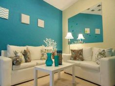 Livingroom Teal Bedroom Decor, Bedroom Colors, Paint Colors For Home, House Colors, Wall Paint Colour Combination, Aqua Rooms, Teal Accent Walls, Sitting Room Decor, House Of Turquoise
