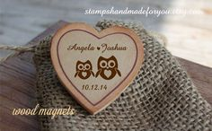 60 Owl Rustic Wedding Favor Wood Magnets or save the date or rustic wedding favor on Etsy, $98.00