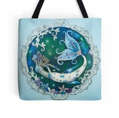 Mermaid Tote Bag, Fairy Tale, Ocean Love, For Mermaid Lovers, Beach, Romantic, Fantasy, Shoulder Bag, Mermaid Art, Texture, White and Blue, Shopping In Frozen Seas In frozen seas adventures lie. Where the world is old, and white and blue and green, there, mermaids travel with whales and seals, exploring the deep...
