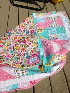 #Rileyblake Hello Sunhine, Kona white and matching minky /cuddle fabric for back. #BabyQuilt #pieced binding.