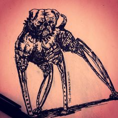 Dystopian destiny of a dog. . . #characterist  #drawings #art #artsy #artist #artwork #doodle #dark #black #instaart #instagood #sketchbook #illustration  #artwork #artoftheday #marker #hipster #drawing #sketching #sketches #doodles  #cyberpunk #dogs #legs #cool #style #future #concept #techno