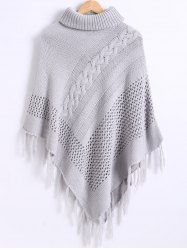 SHARE & Get it FREE | Hollow Out Ribbed Textured Fringed CapeFor Fashion…