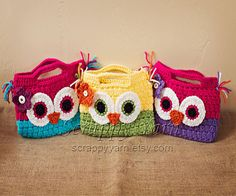 Crochet+Toddler/Child+Owl+Purse+by+ScrappyYarn+on+Etsy,+$16.00