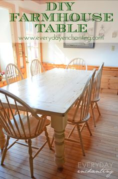 Build a simple DIY Farmhouse Table with this tutorial from EverydayEnchanting.com!