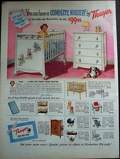 1956 Thayer Ducklings Baby Nursery Furniture Print Ad... Would Be Pretty To  Frame And Hang In A Nursery | Nurseries I Love | Pinterest | Baby Nursery  ...