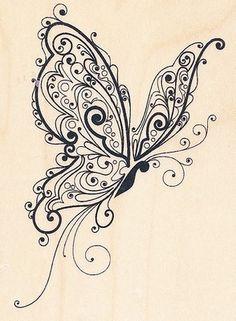 "Butterfly Flourish ~ Inkadinkado Rubber Stamp ~ 2.5"" x 3"" ~ FREE SHIPPING"