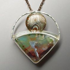 jewelry image of 32.91ct. Ajoite Pendant in sterling and Mokume Gane.