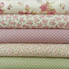 Bundle of 5 fat quarters, cotton - gorgeous selection of pinks, ivory, and sage green floral fat quarters. 100 % cotton, great for patchwork etc. Beautiful cotton fabric - great for lots of haberdashery and craft projects. Tissu Style Shabby Chic, Tela Shabby Chic, Shabby Chic Stoff, Shabby Chic Fabric, Fat Quarters, Sewing Online, Sewing Essentials, Dressmaking Fabric, Baby Doll Clothes