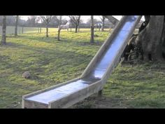 cheap homemade slide - Google Search Playground Design, Backyard Playground, Backyard Games, Playground Slides, Children Playground, Kids Outdoor Play, Outdoor Fun, Homemade Slide, A Frame Swing