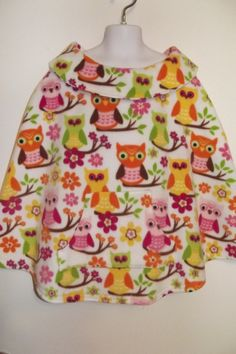Girl's Fleece Poncho multicolored Owl design front by SoSewMimi, $20.00