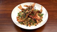 Grilled Prawns with Bulgur Wheat Salad Masterchef Recipes, Grilled Prawns, Masterchef Australia, Fish And Seafood, Serving Dishes, Salad Recipes, Network Ten, Grilling, Bulgur