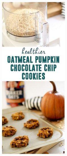 Healthier Oatmeal Pumpkin Chocolate Chip Cookies www.BrightGreenDoor.com #Ad #IC #Oatober