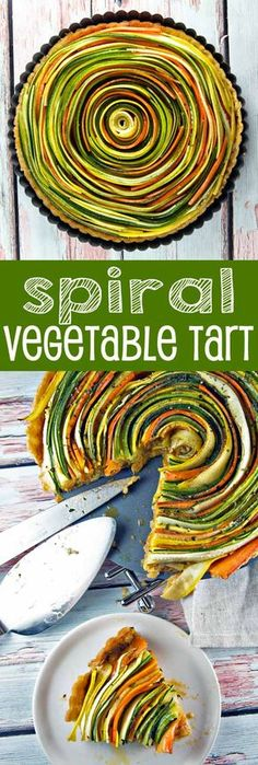 Thinly sliced summer vegetables are the visual star of this spiral vegetable tart. With a layer of homemade sundried tomato pesto and a flaky pie crust, this tart is as delicious as it is beautiful. {Bunsen Burner Bakery} Veggie Recipes, Spiral Vegetable Recipes, Vegetable Slice, Veggie Spiral, Summer Vegetarian Recipes, Vegetarian Tart, Vegetable Bake, Veggie Bake, Vegetable Snacks