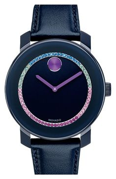 Those are all my favorite colors.. oh look at the price.  Movado 'Bold' Crystal Accent Leather Strap Watch, 36mm available at #Nordstrom