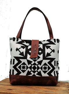 Ann Shoulder Bag in Black & White Wool by appetite on Etsy