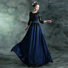 Formal Evening Dress A-line Jewel Floor-length Chiffon / Satin with Appliques / Crystal Detailing / Draping – CAD $ 166.79
