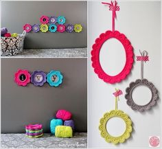 Cute button-crochet wall decor
