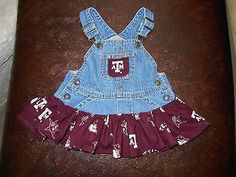 Baby girl college jean overall Texas A & M University tutu 6-12 month Go Aggies in Clothing, Shoes & Accessories | eBay