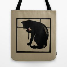 Black cat woodcut style modern drawing tote bag and other gifts