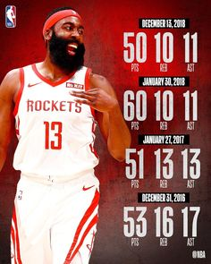 98ac73d7869f Last night s 50-point triple-double was the fourth of  jharden13 s career.