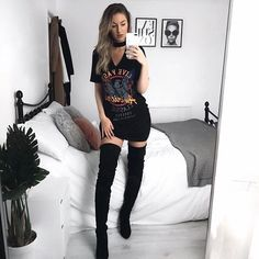 Kinda in love with this t-shirt dress from and over the knee boots from @missyempire #missygirls #missygirl #missyempire