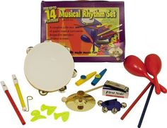 First Note Musical Rhythm Set 14 Players by First Note. $29.95. Musical Rhythm Set (for up to 14 players). A complete collection of quality rhythm instruments. 14 pieces! Plus a storage drawstring bag for easy storage. Contents: 1 Slide Whistle, 1 Fife, 1 Tambourine, 2 Kazoos, 3 Noseflutes, 1 Pair Rhythm Sticks, 1 Wrist Bells, 1 Pair Maracas, 1 Cymbal with Mallet and 1 Harmonica. Tambourine, Easy Storage, Musical Instruments, Contents, Sticks, Musicals, Note, Education, Learning